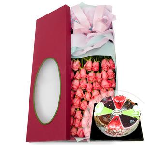 50송이꽃상자 2호(핑크) + 케익