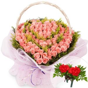 분홍하트바구니(코사지2개무료)