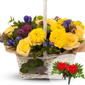 노랑혼합꽃바구니(코사지2개무료)
