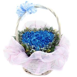 파란장미하트바구니1